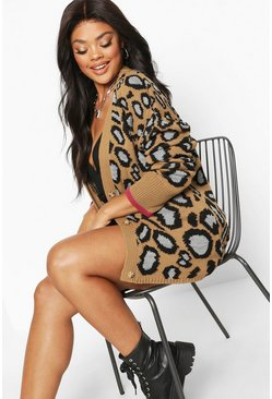 Womens Camel Plus Leopard Button Oversized Cardigan