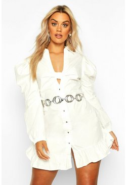 Ivory Plus Knot Front Frill Hem Shirt Dress