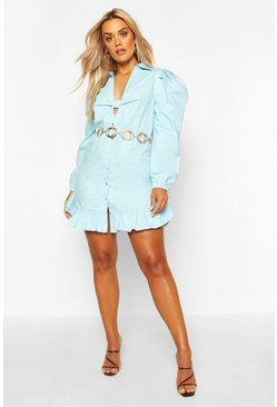 Womens Pale blue Plus Knot Front Frill Hem Shirt Dress
