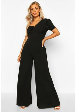 Womens Black Plus One Shoulder Puff Sleeve Jumpsuit
