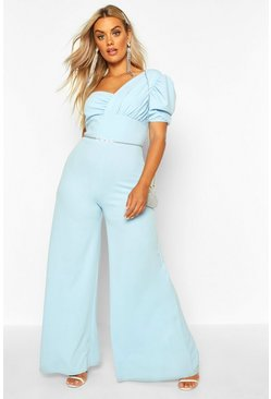 Womens Dusty blue Plus One Shoulder Puff Sleeve Jumpsuit