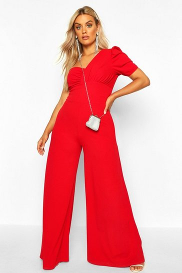 Womens Red Plus One Shoulder Puff Sleeve Jumpsuit