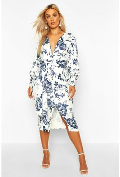 Womens Blue Plus Floral Print Plunge Tie Waist Midi Dress