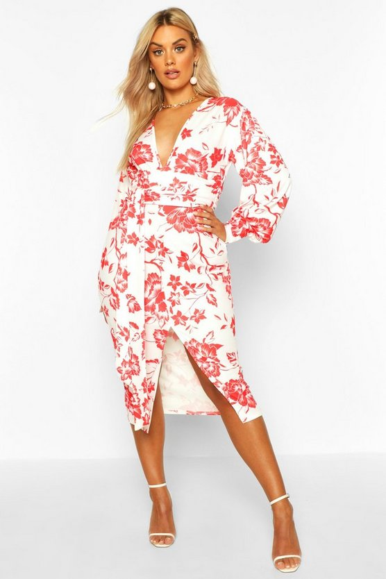 Red Plus Floral Print Plunge Tie Waist Midi Dress