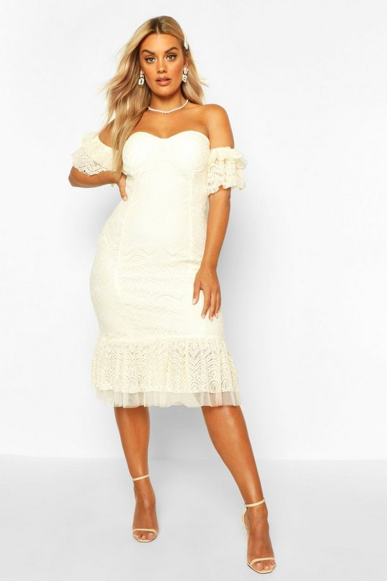 Ivory Plus Lace Bardot Frill Detail Midi Dress