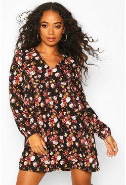 Womens Black Petite Floral Smock Dress
