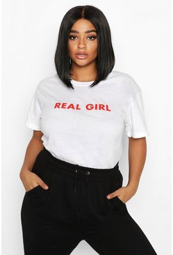 T-shirt à slogan « Real Girl » Plus, Blanc, Femme