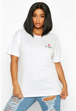 Dam White Plus No Regrets Rose Pocket Print T-Shirt