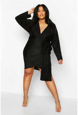 Black Plus Slinky Wrap Drape Detail Dress