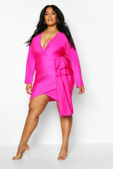 Womens Pink Plus Slinky Wrap Drape Detail Dress