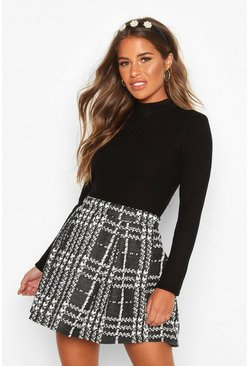 Womens Black Petite Check Box Pleat Skater Skirt