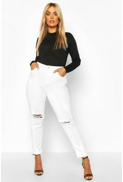 Womens White Plus Ripped Knee Mom Jean