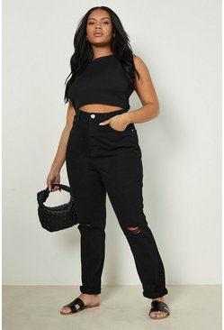 Womens Black Plus Ripped Knee Mom Jeans