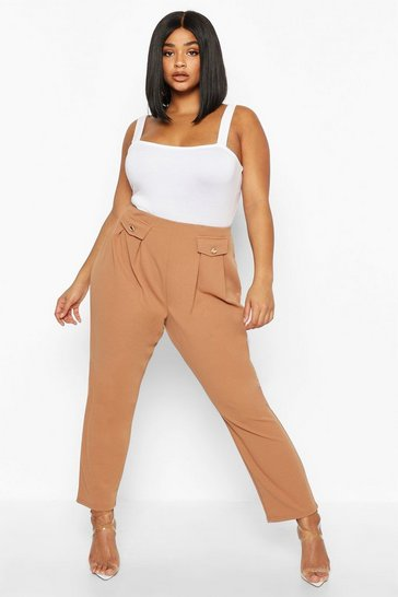 Womens Mocha Plus Two Pocket Pleat Front High Waisted Trouser