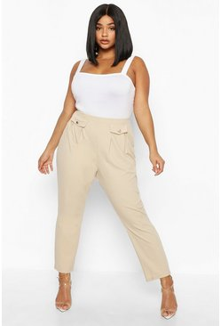 Womens Stone Plus Two Pocket Pleat Front High Waisted Trouser