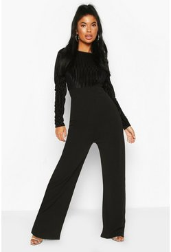 Black Petite Mesh Top Wide Leg Jumpsuit