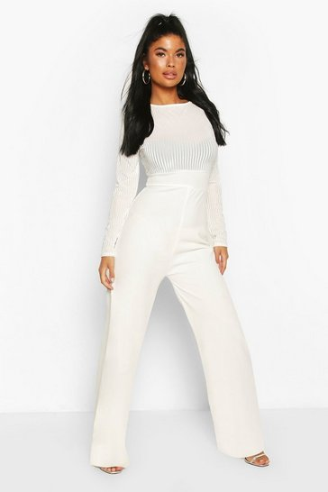 White Petite Mesh Top Wide Leg Jumpsuit
