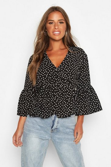 Womens Black Petite Spot Flute Sleeve Smock Top