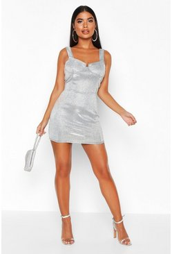 Womens Silver Petite Cup Detail Metallic Mini Dress