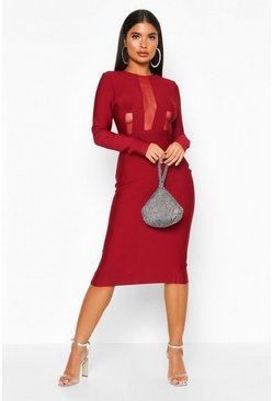 Womens Berry Petite Sculpting Bandage Mesh Detail Dress