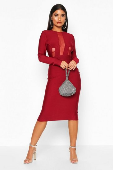 Berry Petite Sculpting Bandage Mesh Detail Dress