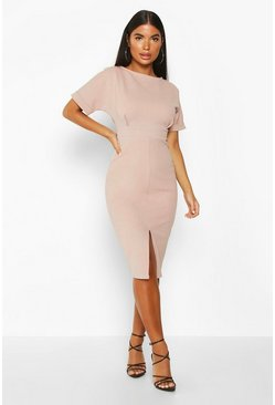 Womens Mink Petite Split Front Midi Dress
