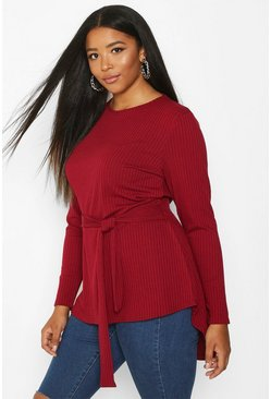 Berry Plus Rib Dip Hem Self Belt Top