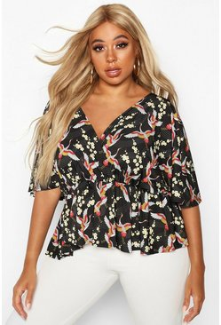 Black Plus Oriental Floral Print Wrap Peplum Top