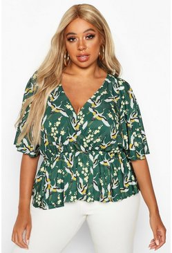 Green Plus Oriental Floral Print Wrap Peplum Top