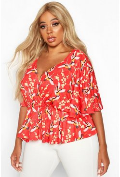 Womens Red Plus Oriental Floral Print Wrap Peplum Top