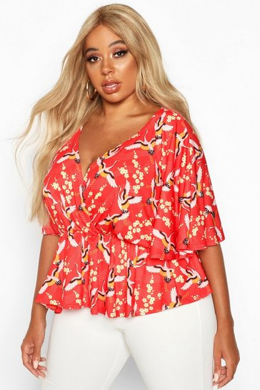 Red Plus Oriental Floral Print Wrap Peplum Top