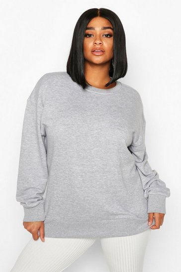 Womens Grey Plus Oversized Sweat