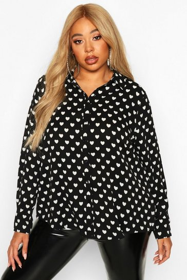Womens Black Plus Heart Print Utility Shirt