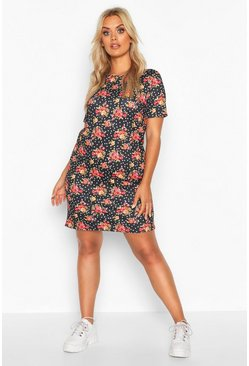 Womens Black Plus Floral And Spot Oversized T-Shirt Dress