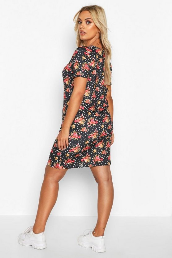 Plus Floral And Spot Oversized T-Shirt Dress