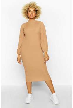 Camel Plus Rib High Neck Blouson Sleeve Midi Dress