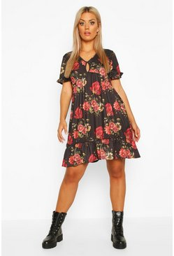 Womens Black Plus Rose Floral Keyhole Detail Smock Dress