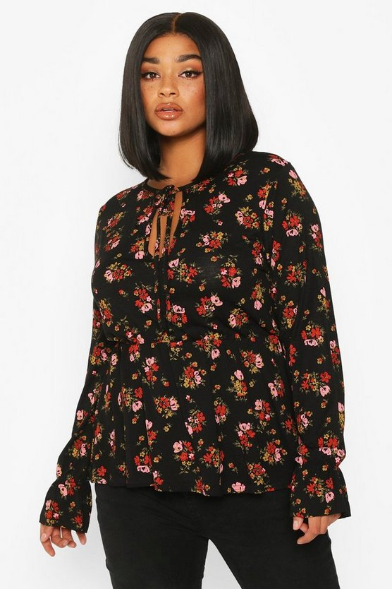Black Plus Dark Floral Keyhole Peplum Top