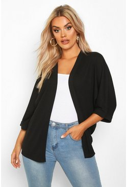 Womens Black Plus Rib Wide Sleeve Kimono