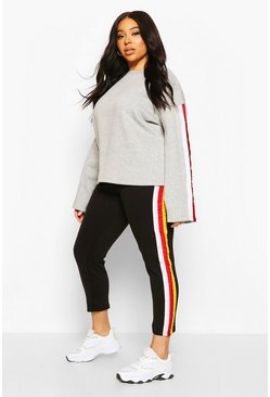 Grey Plus Popper Stripe Sweat Lounge Set