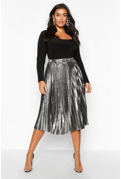 Womens Silver Plus Metallic Pleated Midi Skirt