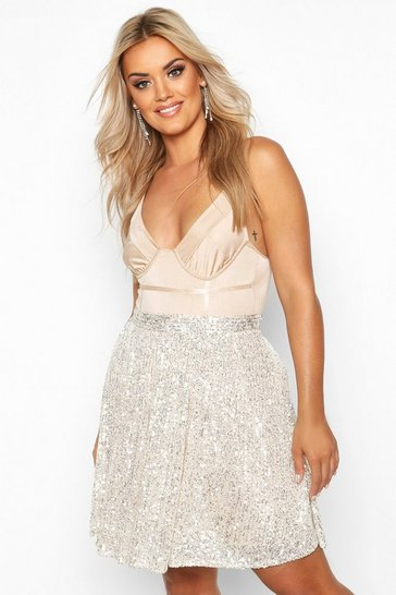 Womens Nude Plus Sequin Skater Skirt