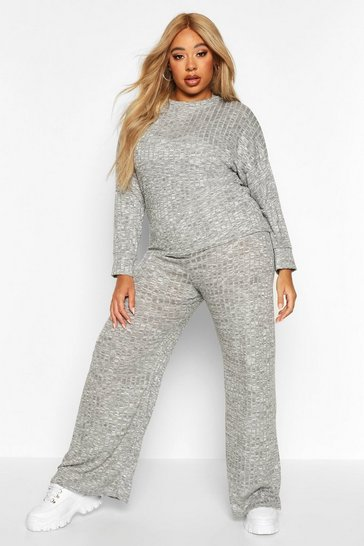 Womens Light grey Plus Oversized Top + Wide Leg Trousers Co-ord