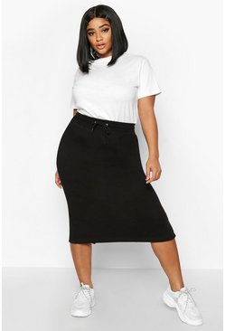Black Plus Drawstring Waist Sweat Midi Skirt