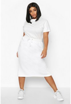 Womens White Plus Drawstring Waist Sweat Midi Skirt