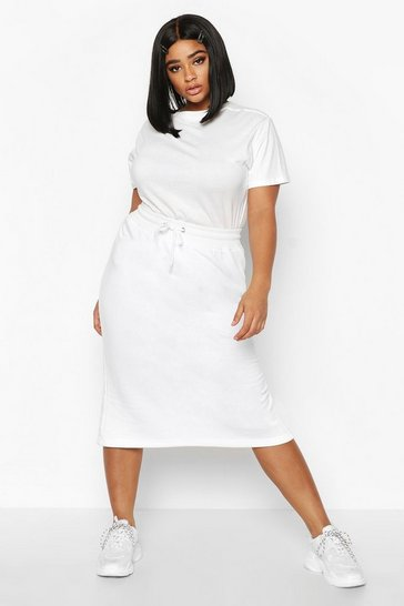 White Plus Drawstring Waist Sweat Midi Skirt