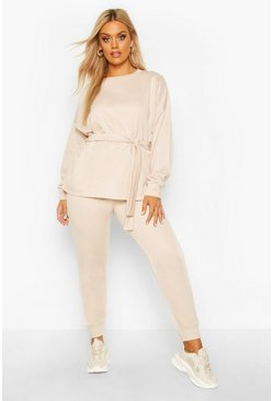 Womens Beige Plus Loopback Tie Wrap Sweat + Jogger Set