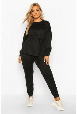 Womens Black Plus Loopback Tie Wrap Sweat + Jogger Set