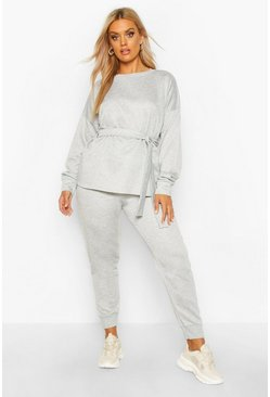 Grey marl Plus Loopback Tie Wrap Sweat + Jogger Set