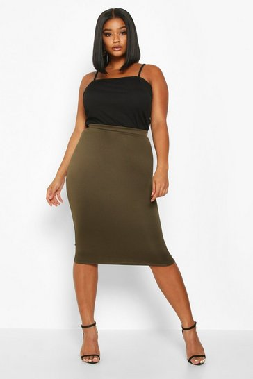 Womens Khaki Plus Scuba Midi Skirt